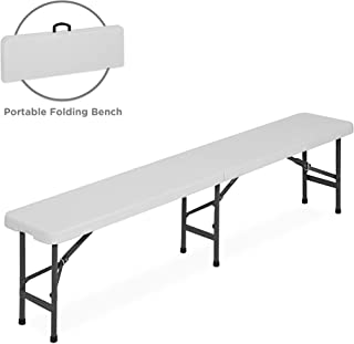 Best Choice Products 6 foot Portable Folding Bench, Sturdy Lightweight Plastic Multipurpose Bench Seat for Indoor Outdoor Use - White