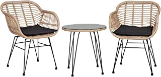 Outdoor Funiture Chairs Balcony Table Set Garden Rattan Wicker Patio Setting Black