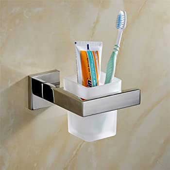 Weare Home zur Wandmontage SUS304 Edelstahl Badezimmer Bad-Serie Glasbecher und Becherhalter
