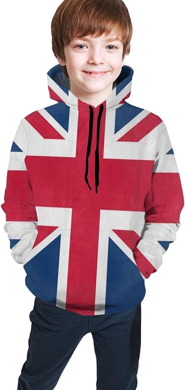 British Flag Union Jack UK Hoodies for Kids Boys Girls Hooded Sweatshirt Pullover Long Sleeve Sweaters