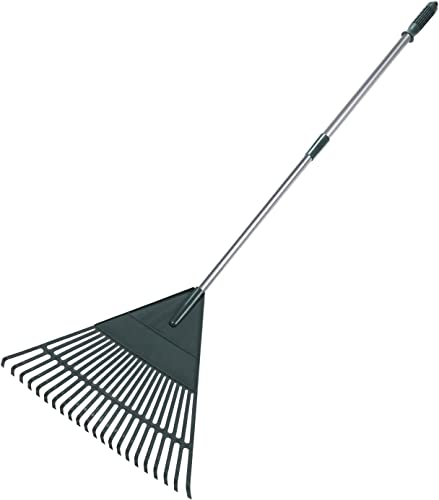 high quality ORIENTOOLS Garden Rake, Adjustable Lightweight outlet online sale Steel Poly Shrub Rake, Plastic Head, 22 Tines, 42 to 60 outlet sale Inches (Silver Handle) online