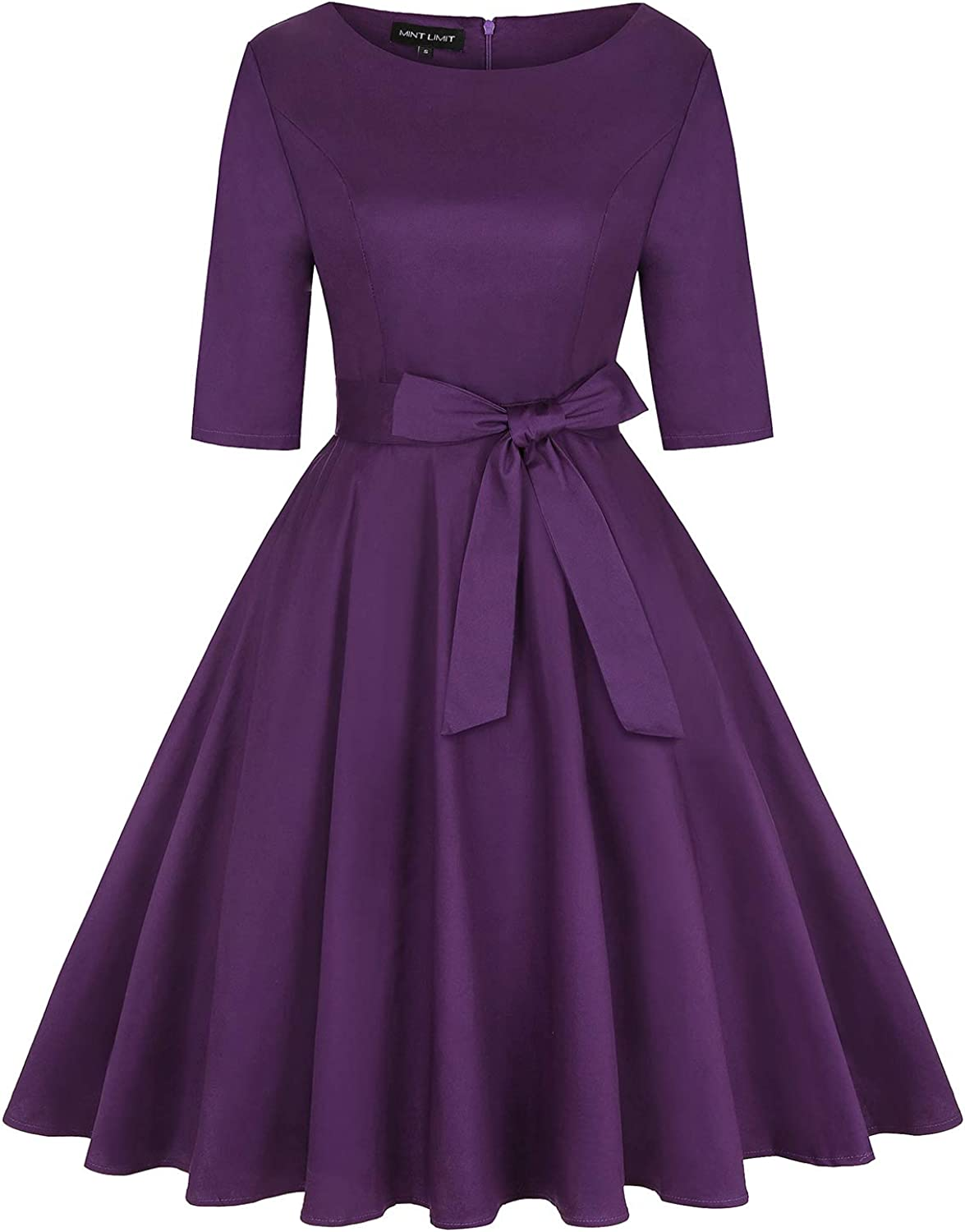 MINTLIMIT Women's Vintage 1950s Retro Rockabilly Cocktail Swing Party Midi Dresses with Pockets