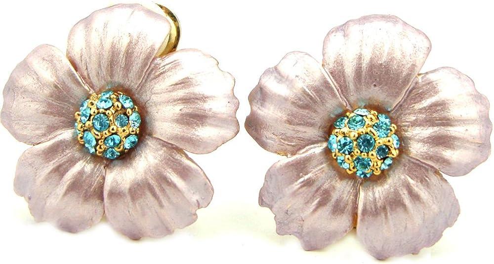 Pastel Plum Enamel & Aquamarine Colored Crystal Flower Clip On Earrings