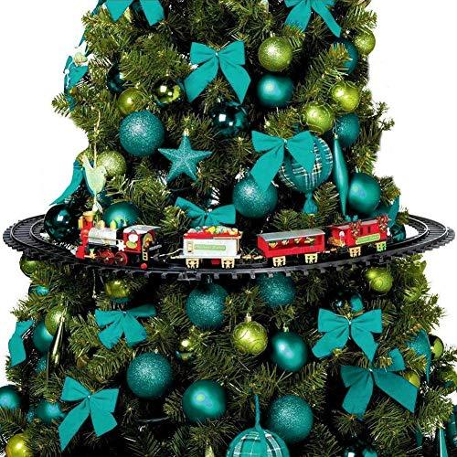BAKAJI Trenino Natalizio con Supporto per Centro Albero Treno Elettrico Locomotiva con Luci 3 Vagoni Decorazioni di Natale Diametro 89cm Giocattolo Bambini