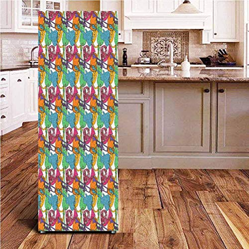 Angel-LJH Jazz Music 3D Door Fridge DIY Stickers,Abstract Retro Style Composition with Colorful Musical Instruments Festive Party Door Cover Refrigerator Stickers for Home Gift Souvenir,24x70