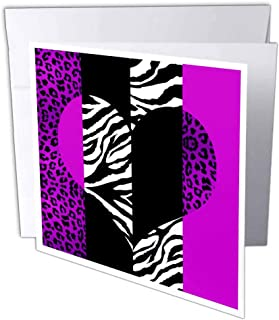 3D Rose gc_35435_1 Purple Black and White Animal Print - Leopard and Zebra Heart - Greeting Cards, 6 x 6, Set of 6
