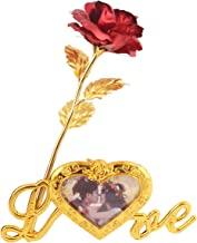 MSA JEWELS 24K Gold Plated Rose with Love Stand & Blue Velvet Box for Valentine, Birthday & Decor Gift (30X10X8 cm) (Red)