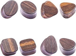 HONGTU 4pair(8PCS) Black Ebony Wood Ear Gauge Stretcher Plug Tunnel Piercing Body Jewelry Sets(Oval,Triangle,Teardrop,Square),Handmade Ear Expansion Kits