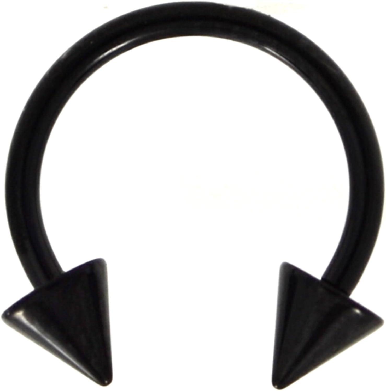 16G(1.2mm) Black Titanium IP Steel Circular Barbells Horseshoe Rings w/Spike Ends (Sold in Pairs)
