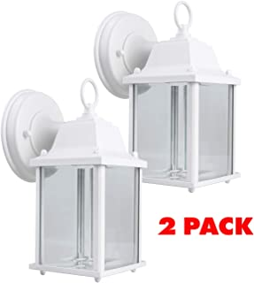 CORAMDEO 2-Pack Outdoor LED Wall Sconce Light for Porch, Patio, Barn and more, Wet Location, Built in LED gives 75W of light from 9.5W of power, Durable Cast Aluminum with White Finish & Beveled Glas