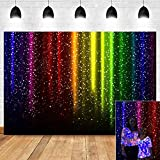 Colorful Rainbow Shining Glitter Sequin Photography Backdrop Let's Glow Party Decorations Retro Disco Music Prom Dance Photo Background Vinyl 7x5ft Neon Photo Booth Studio Props