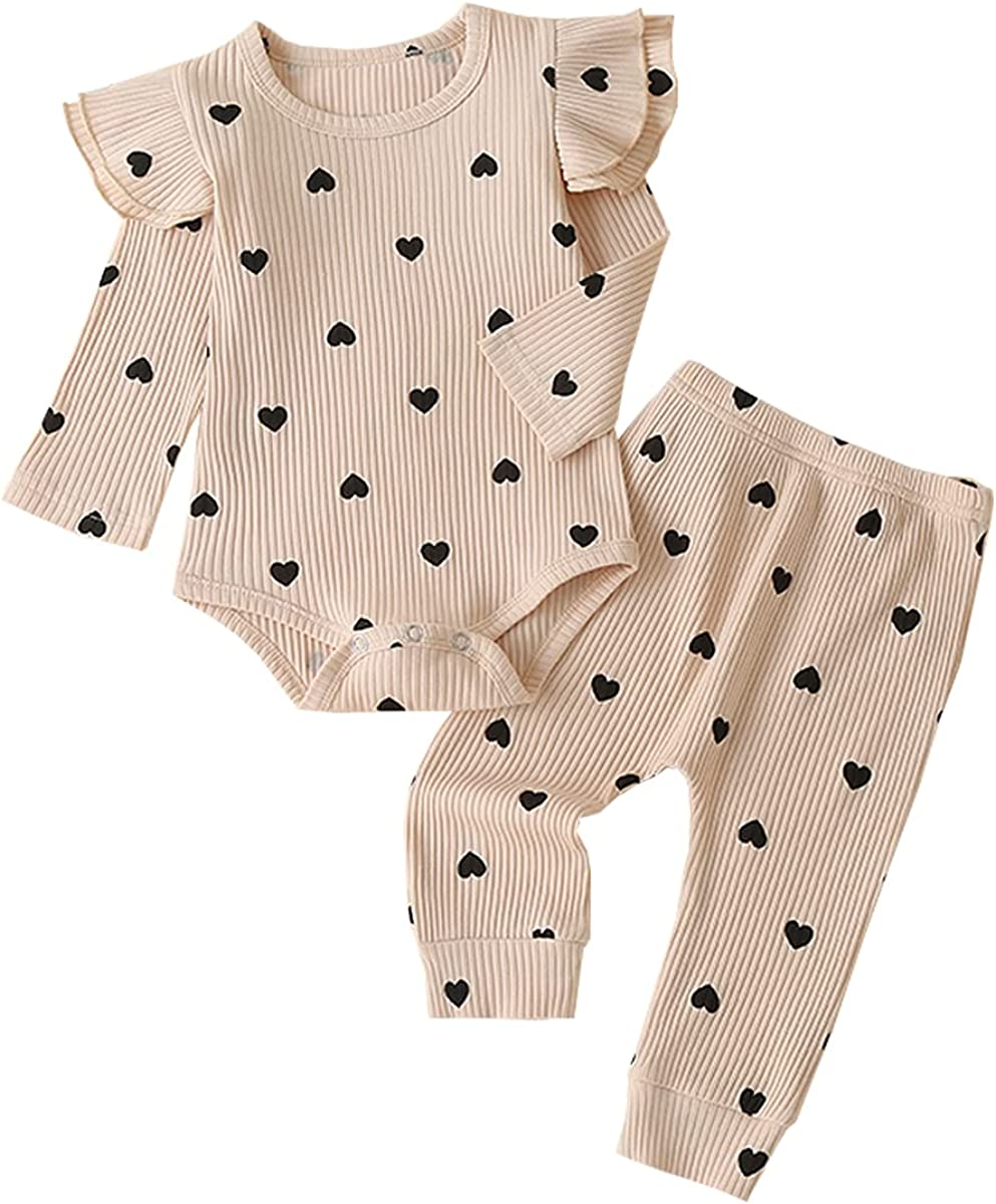 Newborn Infant Baby Girl 3PCs Rib Frill Long Sleeve Love Romper Pants Headband Clothes Set
