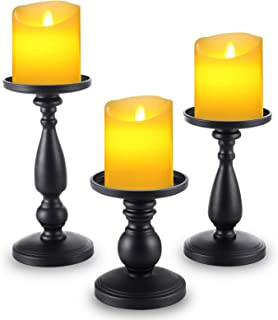 Matte Black Candle Holders Set of 3 - Metal Candle Holders for Pillar Candles - 3 Pillar Candle Holder Centerpiece - Pilla...