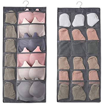 GETKO WITH DEVICE Dual-Sided Hanging Closet Organizer with 30 Mesh Pockets, Hanger Wall Shelf Organizers for Stockings, Panties, Bra, Socks & Travel Accessories
