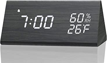 Digital Alarm Clock, with Wooden Electronic LED Time Display, 3 Alarm Settings, Humidity..