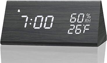 ساعت زنگ دار دیجیتال ، با صفحه نمایش ال ای دی الکترونیکی چوبی ، 3 تنظیم زنگ هشدار ، تشخیص دما ، برای اتاق خواب ، کنار تختخواب ، مشکی