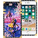 DISNEY COLLECTION iPhone 7 Plus iPhone 8 Plus 5.5 Inch Luxury Square Phone Case Beauty and The Beast Dance Romantic Cover Metal Decoration Corners Precision Cutouts Shockproof Shell