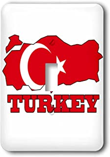 3dRose lsp_63212_1 The Flag Outline map and Name of The Country, Turkey Single Toggle Switch
