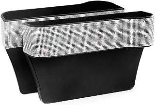HOB4U Bling Car Seat Organizer Front Seat Gap Filler with Crystal Rhinestones Diamond, 2 Pack PU Leather Car Seat Organize...