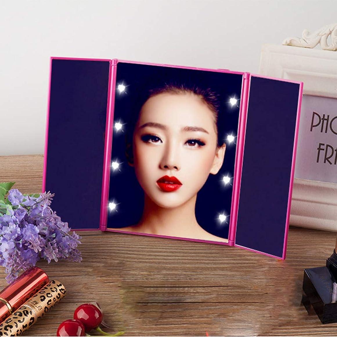 縮約それに応じてデンプシーCatChi 化粧鏡 女優ミラー LED付き 折りたたみ式 タッチ メイクミラー 三面鏡 卓上 スタンドミラー 乾電池式