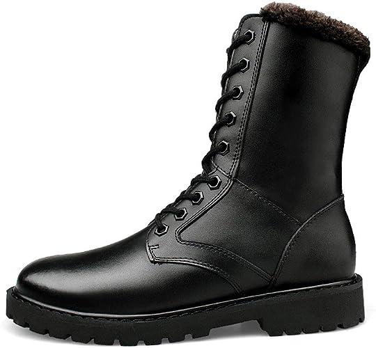 YAN Chaussures pour Hommes Cuir Hiver Nouvelles Bottes De Neige en Coton Haut-Top Bottes De Combat Extérieur Antidérapant Bottes De Confort Travail Extérieur Et Bottes De Sécurité,noir,47