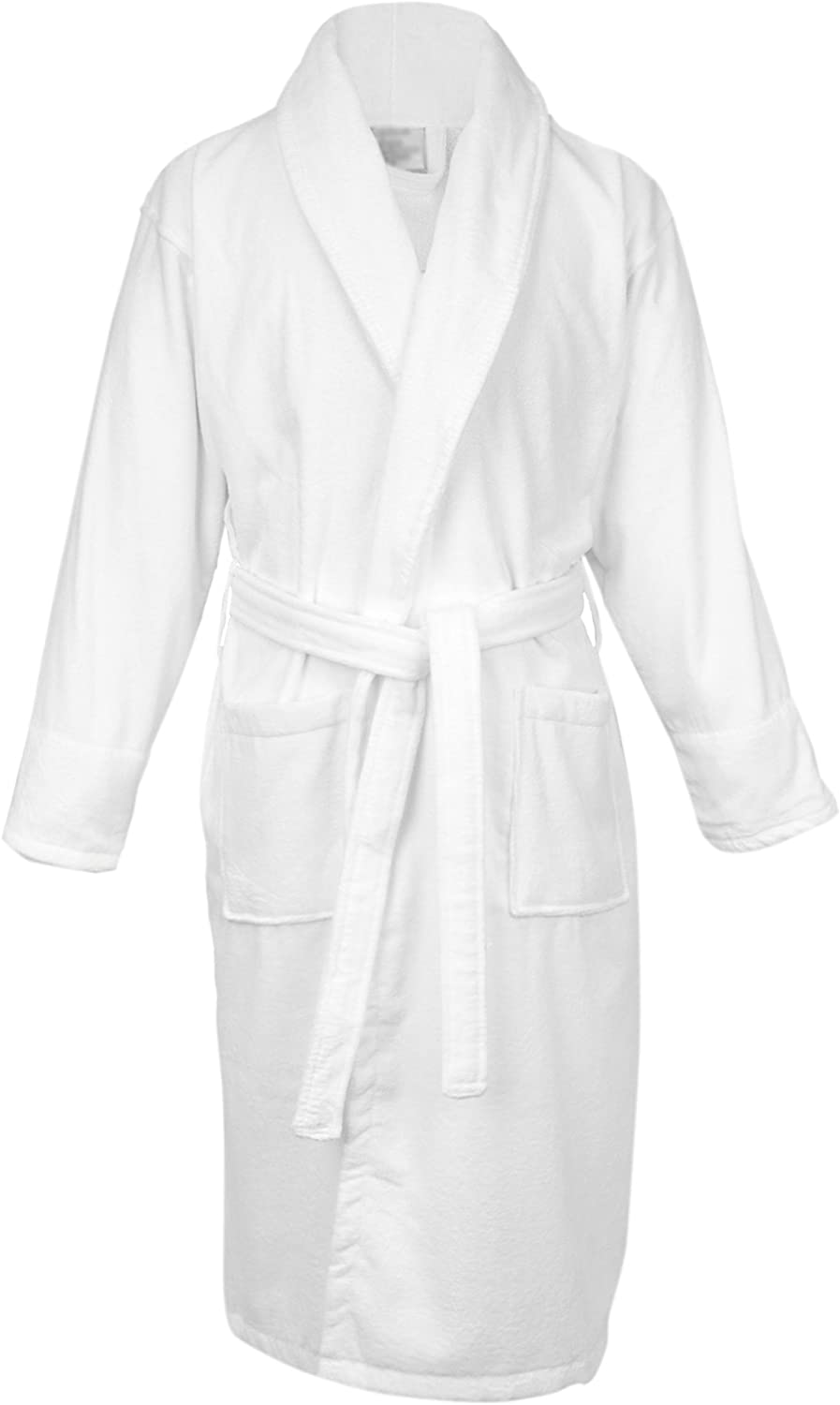 BC BARE COTTON 100% Turkish Women Terry Velour Shawl Robe, Small Medium, White
