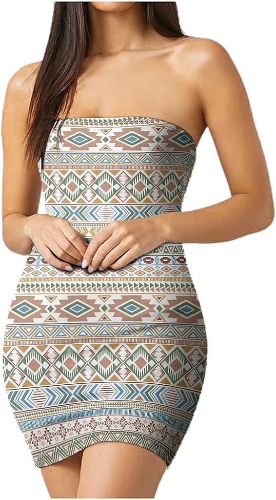 mozhiben Ethnic Style Women's Tube Top Dress Strapless Printed Casual Summer Dress Elegant