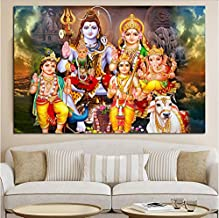 Shiva Parvati Ganesha Indian Art Hindu God Figure Canvas Painting Religious Poster and Print Wall Picture for Living Room ...