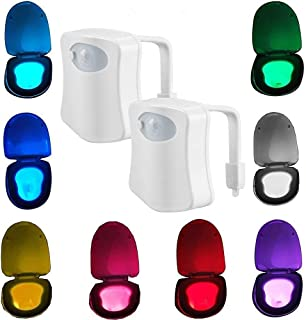 2 Pack Sporthomer Advanced Motion Sensor LED Toilet Light, Inside Tolit Bowl Nightlight, Human Body Motion Activated Sensor Seat Lamp, 8 Color Changing (Only Activates in Darkness)