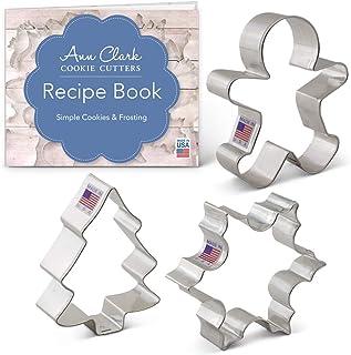 Ann Clark Cookie Cutters Juego de 3 cortadores de galletas Navidad/festividades con libro de recetas, copo de nieve, hombre de jengibre y árbol de Navidad - Acero fabricado en EE.UU.