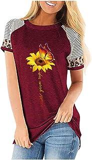 Women Summer Short Sleeve Tops, Ladies O-neck SunFlower Printed T-shirt Blouse Tunic Top