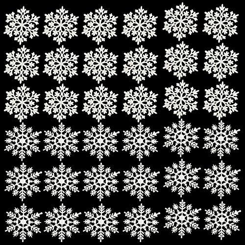 BELLE VOUS Weihnachtsdeko (36 Teile) (9,5 x 9,5 cm) 2 Designs Weiß Glitzernde Schneeflocken Weihnachten Dekoration zum Aufhängen mit Faden zu Weihnachten für Weihnachtsbaum Kranz Deko Geschenk