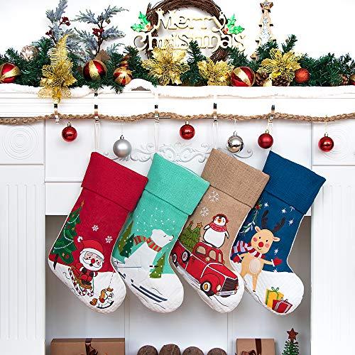 Beyond Your Thoughts 4er Set Nikolausstrumpf Set 4 Stück Nikolausstiefel zum Befüllen und Aufhängen Groß Weihnachtsstrumpf Deko Kamin Christmas Stockings Rentier Weihnachtsmann