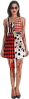 Halloween 3D Printing Horror Bloody Zombie Maid Masquerade Costume Vest Dress,M