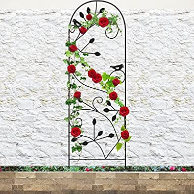 Amagabeli Garden Trellis for Climbing Plants 46  x 15  Rustproof Black Sturdy Iron Potted Support Vines Vegetable Flower Patio Metal Wire Lattices Grid Trellises for Ivy Roses Grape Cucumber Clematis