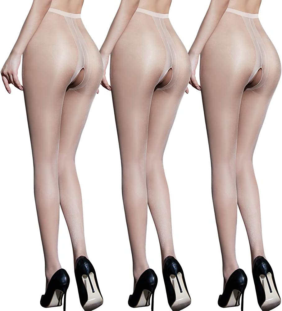 DRAIMIOR 3 Pairs Women's Thigh High Stockings, Ultra Sheer Tights, Thin Transparent Pantyhose, Nude