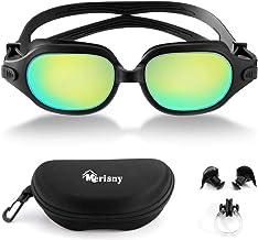 Merisny Adultos Gafas de Natación, Gafas para Nadar, Antiniebla Protección UV Sin Fugas con Correa Ajustable, Lente de Color Espejo, Enchufe de Oído, Clip para Nariz, Estuche de EVA