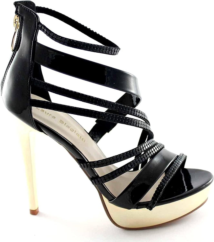 Laura Biagiotti 937 Schwarze Schwarze Schwarze Frauen Schuhe mit hohen Absätzen Sandalen Plateaus  a15ce9