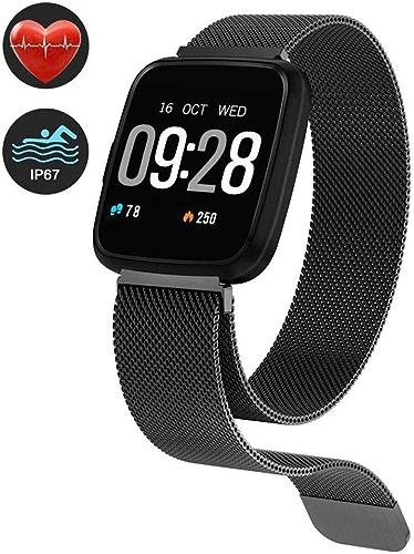 Fitness Tracker Traqueur d'activité Fréquence cardiaque, moniteur de sommeil Bracelet de sport bleutooth Montre intelligente étanche IP67 Compteur de calories Pédomètre pour Android IOS