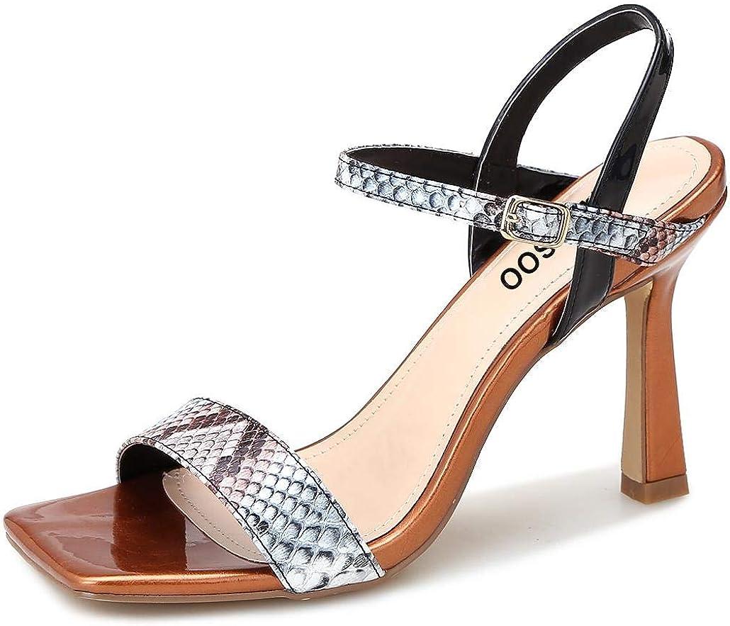 Women's Multicolor Square Toe Stilettos Sandals Ankle Strap Pumps High Heels Dress Ladies Sexy Fashion Open Toe Heeled Louis Heel Shoes