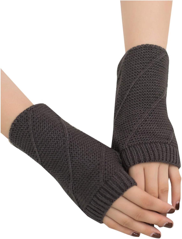 Otawa Women Girl Knit Half Finger Flat Gloves, Knitted Arm Fingerless Soft Mitten Keep Warm Winter Gloves