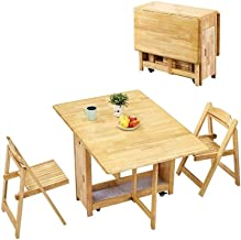 CHICAI 1.45M Butterfly Solid Wooden 2-Chairs Dining Table Set Folding Drop Leaf Kitchen Furniture Natural Pine