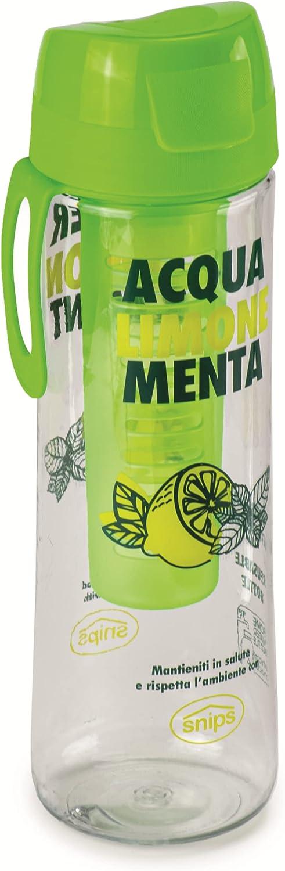 Snips Bottiglia in 0,75 LT removibile-Trasparente con decoro Botella de tritán de 0,75 l con infusor extraíble – Transparente con decoración de Menta y limón, Verde, 7.1 cm