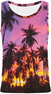 Sunset Palm Tree Tank Tops for Women Sleeveless Tops Workout