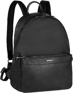Mochila Nylon Portátil 13 Pulgadas Hombre - Negocios Backpack Rucksack Piel Cuero PU - Escolar Trabajo Viaje Daypack - Bolsos de Hombro Canvas Multifuncional - Negro