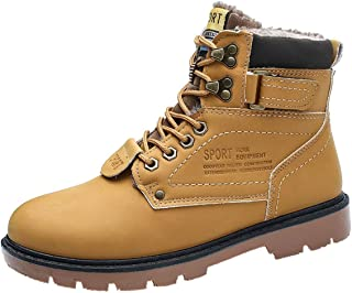 Mens Martin Bootie,Men Snow Winter Outdoor Lace-Up British Style Non-Slip Wear-Resistant Outdoor Tooling Big Size (Color : Yellow, Size : 5.5/6 UK)