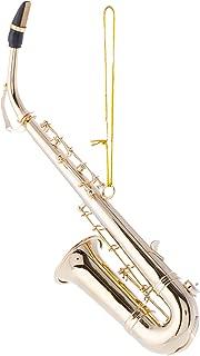 Broadway Gift Miniature Saxophone Shaped Goldtone Brass Decorative 5.5 inch Alto Christmas Ornament
