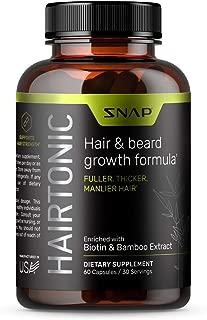 Hair and Beard Growth for Men - Formula for Hair Skin and Nails - Hair Loss Supplement with Biotin, Keratin, Bamboo - 60 Capsules