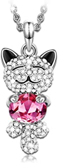 ✦Lucky Cat✦ Women Christmas Necklace Gifts Jewelry Lovely Gifts for Teen Girls with a Luxury Gift Packing Crystals from Swarovski Animals Pendant Necklace for Cat Lover