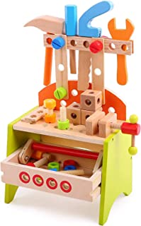 Spiekind Wooden Power Tool Workshop - Building Tools Sets Pretend Play Toys for Toddlers - Construction Workbench with Wre...